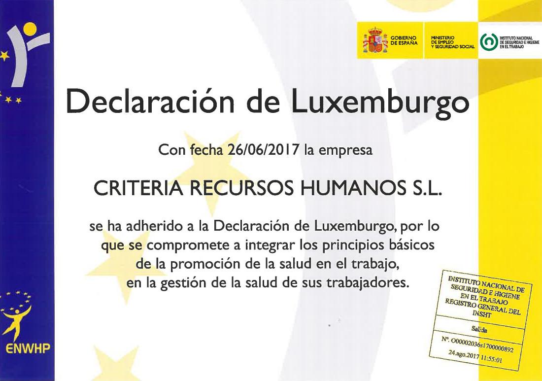 Diploma de adhesión a la Declaración de Luxemburgo