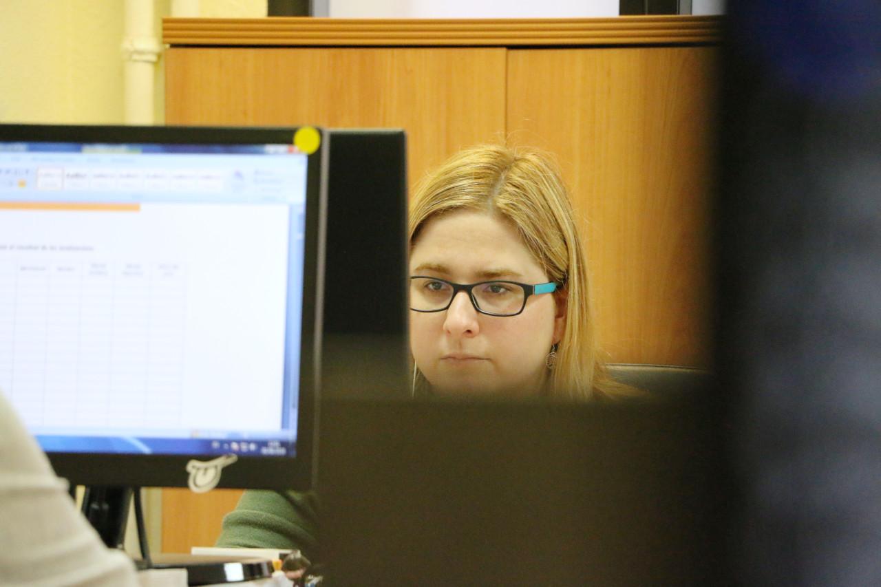 Miriam trabajando