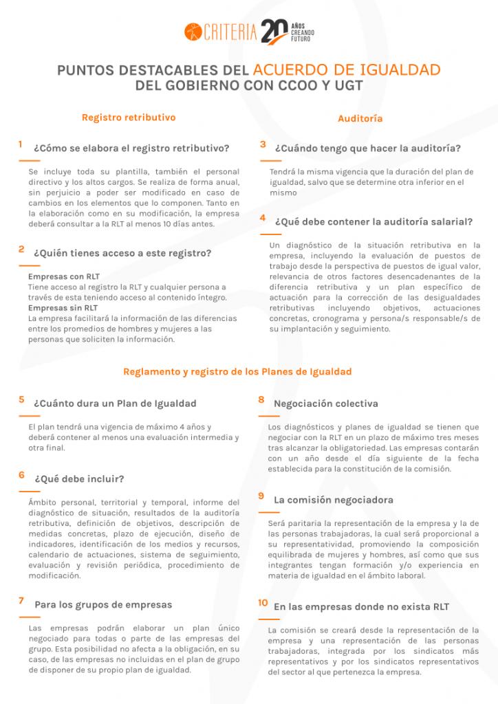 Puntos destacables del acuerdo de igualdad del Gobierno con CCOO y UGT